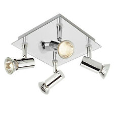 Modern Silver  Chrome 4 Way Square Kitchen Ceiling Spot Light Spotlight Lights