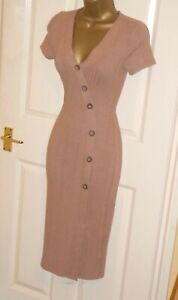 Stretchy ribbed jersey button cardigan wiggle midi dress size 22 party or day