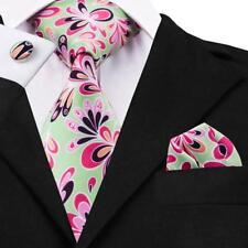 Classic Green Floral Mens Tie Pink Printing Silk Necktie Wedding Sets LS-1221