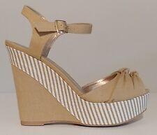 "NEW!! Qupid Tan Canvas Wedge Sandals 5"" Heels Size 8.5M US 38.5M EUR"