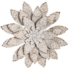 Distressed Metal Flower Wall Art Cream, 2 Sizes
