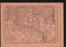 WWI Map Carte France Suisse Belgique/Trentino Italia Italy 1918 ILLUSTRATION