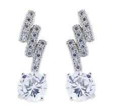 CLIP ON EARRINGS - silver plated with clear sparkly CZ crystals & stone - Molly