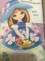 Vintage Birthday Card 60s Flowers Girl Blue Dress Buzza Cardozo California