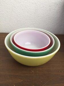 Vintage Lot Of 3  Mix Pyrex Bowls