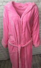 Ladies Pink Fleece Hoodie Bathrobe Dressing Gown Pyjamas One Size Fits UK 10-14