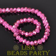 New 500pcs 4X3mm Faceted Rondelle Crystal Glass Loose Spacer Beads Deep Pink