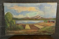 Large Mid 20th Century Oil on Canvas Meadow and Lake Landscape Ludde Lundin ,53
