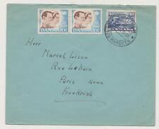 DENMARK  Letter with sticker of noel TONDERS  Destination Paris  Year: 1947