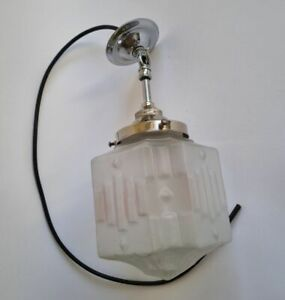 French Art Deco pendant light frosted glass globe and chrome 1930s