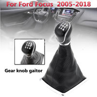 5 Speed Carbon Fiber PU Leather Gear Shift Knob Gaitor Boot For Ford Focus 05-18