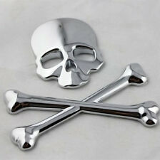 Stainless Silver Skull Head & Cross Bone Logo Emblem Car SUV Decal 3M Sticker