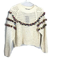 Haute Rogue Women's Size Small  Pompom Ivory Open Knit Crop  Sweater Top