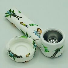 Silicone Smoking Pipe with Metal Bowl & Cap Lid | R & M Character Pipe | Usa