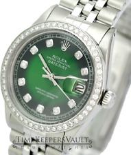 Rolex Mens Datejust  Green Vignette Diamond Dial Diamond Bezel 36mm-Quickset
