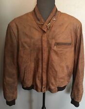 SILVIA Y MARIO BUENOS AIRES Distressed Hipster MEN'S M BROWN LEATHER JACKET COAT