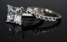 Princess Cut Engagement Ring Matching Wedding Band 14K Solid White Gold 2.20Ct
