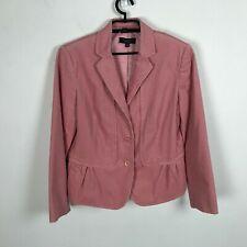 Talbots Corduroy Blazer Size 12 Pink Peplum Style 3 Button Ruched Womens