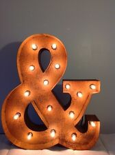 "New Rustic Metal Ampersand (&) Light  Marquee: Sign Wall Decoration 24"" Vintage"