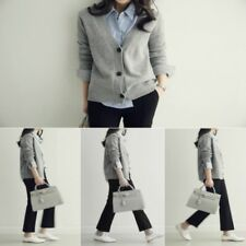 Lady Knitted Cardigan Button Jumper Sweater Coat Knitwear V Neck Loose Black