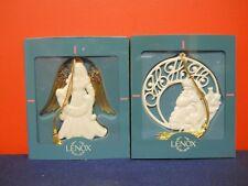 2 Lenox China Holiday HOHOHO Santa & Angel Ornaments MIB