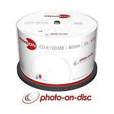 50 PRIMEON 2761105 Premium Printable Blank CD-R 52x 700MB 80min CD Discs Cakebox