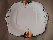 VINTAGE SQUARE TAB CAKE PLATE BALMORAL CHINA R & D HANDPAINTED DECO BLACK RED