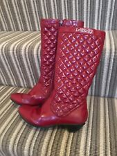 Girls Lelli Kelly Size 31/12.5 Red Patent leather Boots With Quilted Upper VGC