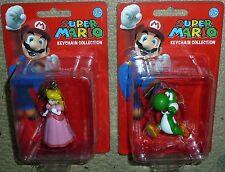 2 x SUPER MARIO KEYCHAIN COLLECTION Yoshi & Princess Peach BRAND NEW! Nintendo