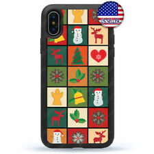 iPhone 11 Pro Max Xs XR 8 Plus 7 Hard Rubber Case Cover Merry Christmas Snow Man