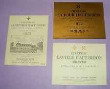 B1049/ 3 ETIQUETTES VIN CHÂTEAUX LA MISSION HAUT BRION 1973 - LA TOUR HAUT BRION