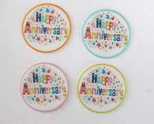 12 PRE CUT HAPPY ANNIVERSARY EDIBLE RICE PAPER WAFER CARD CUPCAKE  TOPPERS