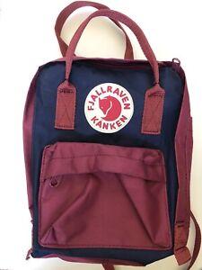 Fjallraven Kanken Backpack Mini Burgundy Red And Navy Blue