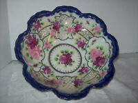 VINTAGE COBALT BLUE & GOLD RIMMED BOWL WITH ROSES 10 INCHES IN DIAMETER MADE IN