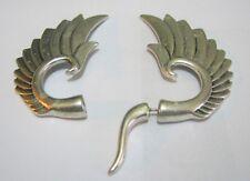metal earrings very unusual 2 ins long Lovely pair of wing style silver tone