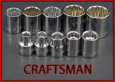 CRAFTSMAN HAND TOOS 10pc LOT 3/8 Drive SAE 12 pt ratchet wrench socket set !