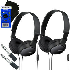 Sony MDRZX110AP Smartphone Headset with Mic, Black + Headphone Adapter (2 pack)