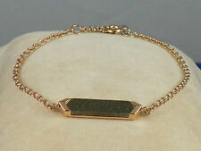 Fossil Brand Rose Gold Stainless Gray Stone ID Plaque Bracelet JF02386 791 $38