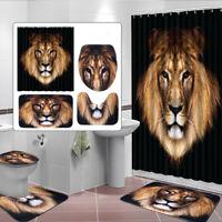 4Pcs Lion Home Decor Bathroom Pad Toilet Seat Cover Bath Mat + Shower Curtain