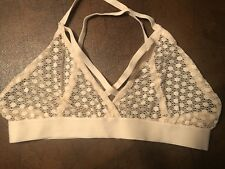 Target Sheer Peach Lace Bra Criss-Cross Elastic Straps Size M NEW