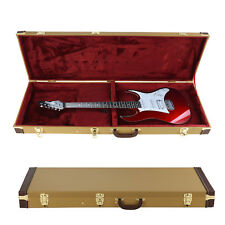 Electric Guitar Case Tweed Lockable Gold Guitar Hard Case Protective Bag