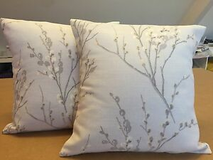 TWO  HANDMADE CUSHION COVERS IN LAURA ASHLEY PUSSY WILLOW DOVE GREY