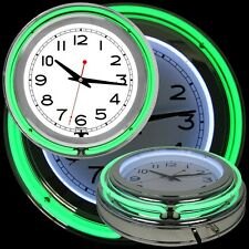 14 Inch Double Ring Neon Clock Green Outer Ring White Inner Ring Pull Chain