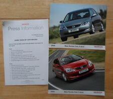 HONDA CIVIC orig 2003-04 UK Mkt Press Release + 2 Large Photos - Brochure