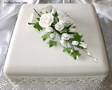 Large White Tea Rose SPRAY, FIORI di zucchero, cake topper, Gum pasta, pasta di zucchero