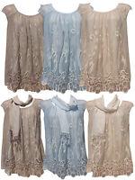 New Ladies Sleeveless Italian Dress Summer Embroided Top Vest Tunic Plus Size