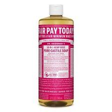 Dr Bronner Rose Castile Liquid Soap - 946ml