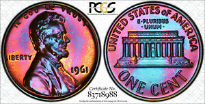 1961 TONED PROOF LINCOLN MEMORIAL CENT PENNY PCGS PR 66 RB