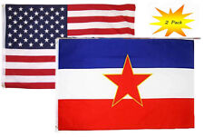 3x5 3'x5' Wholesale Set (2 Pack) Usa American & Yugoslavia Star Flag Banner