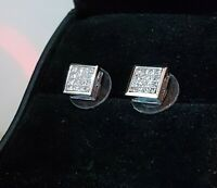 18K 1.00 Ctw Princess Cut Diamond Earrings White Gold VS2-Si1 F-G 4 Grams 8.2 mm